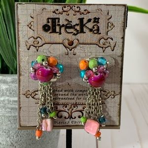 Treska Multicolored Dangle Earrings
